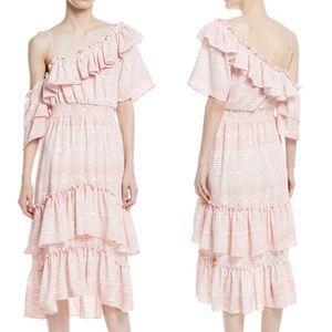 MISA Gaga Maxi Dress In Pink and White